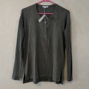 James Perse Boxy Collage Henley Top Army Green